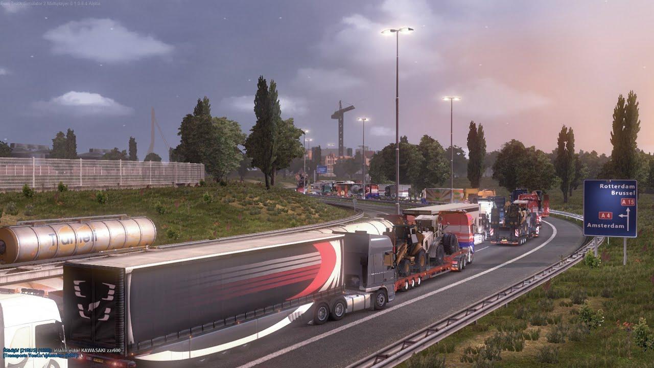 Strange Rotterdam traffic jam in Euro truck simulator 2 Multiplayer mod - YouTube