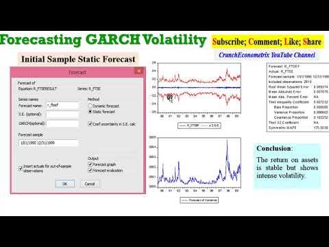 (EViews10): Forecasting GARCH Volatility   #forecast #garchforecasts #volatilityforecast