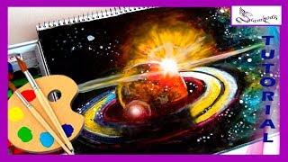 Como Dibujar la galaxia, Saturno, el sol y las estrellas utilizando pastel oleo con instrucciones