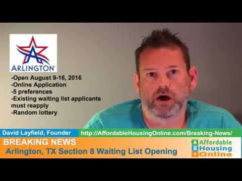 BREAKING NEWS - Arlington, TX Section 8 WL Opens Soon