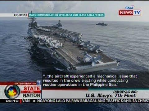 SONA: Fighter aircraft ng U.S. Navy, bumagsak sa Philippine Sea