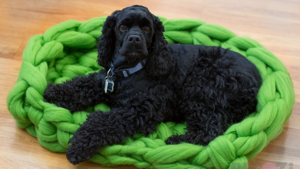 HAND CROCHET A MERINO WOOL DOG BED 30 MINUTES. BECOZI - YouTube