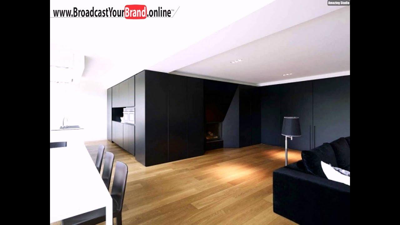 Wohnwand design stein  Wohnwand Schwarz Trennt Küche Wohnzimmer Essbereich - YouTube