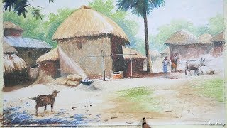 How to Draw & Paint A Bangladeshi Village | step by step Pastel Painting