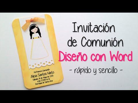 Invitaci n comunion dise o con microsoft word youtube - Como preparar una comunion en casa ...