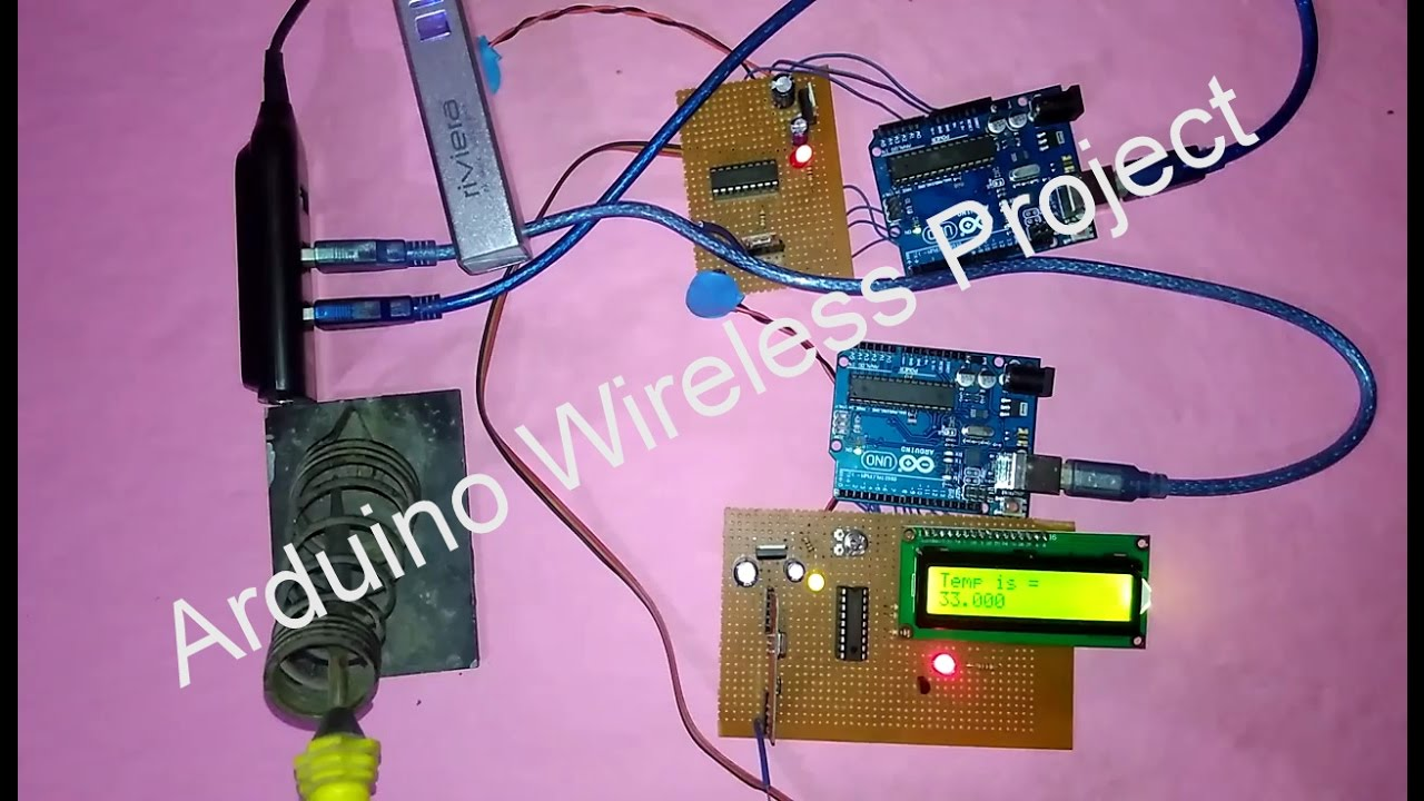 Wireless Arduino Temperature Sensor Project Thermometer Circuit With Receiver And Transmitter Electronic Communication Fun Electronics