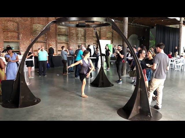 Jen Lewin's CHANDELIER HARP (2012), Pioneer Works, Brooklyn, 2019
