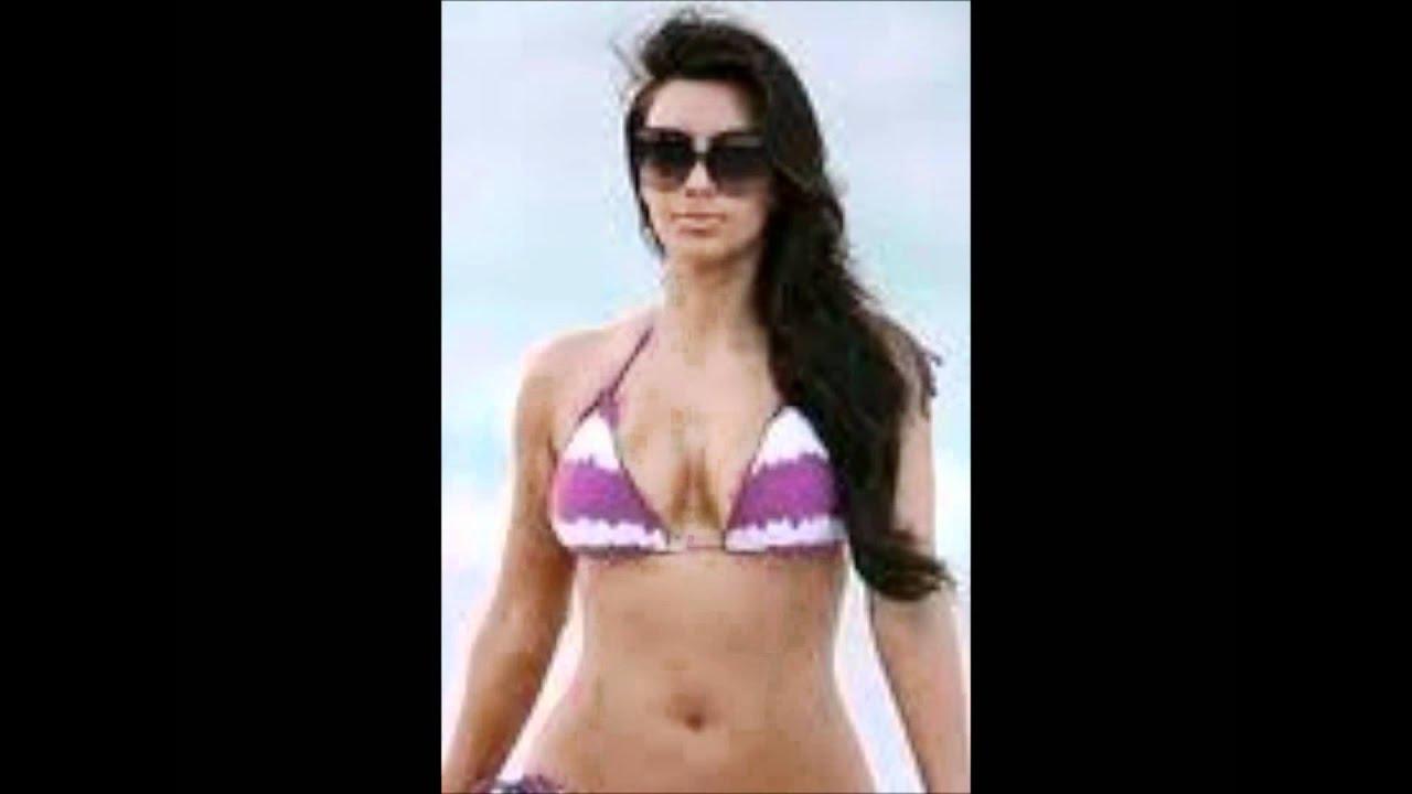 And kim kardashian in a purple bikini