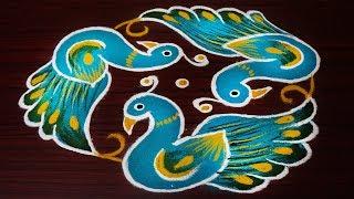 Simple And Beautiful Peacock Rangoli Designs|easy Kolam Designs With 7x4 Dots|beginners Rangoli