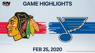 NHL Highlights | Blackhawks vs. Blues - Feb. 25, 2020