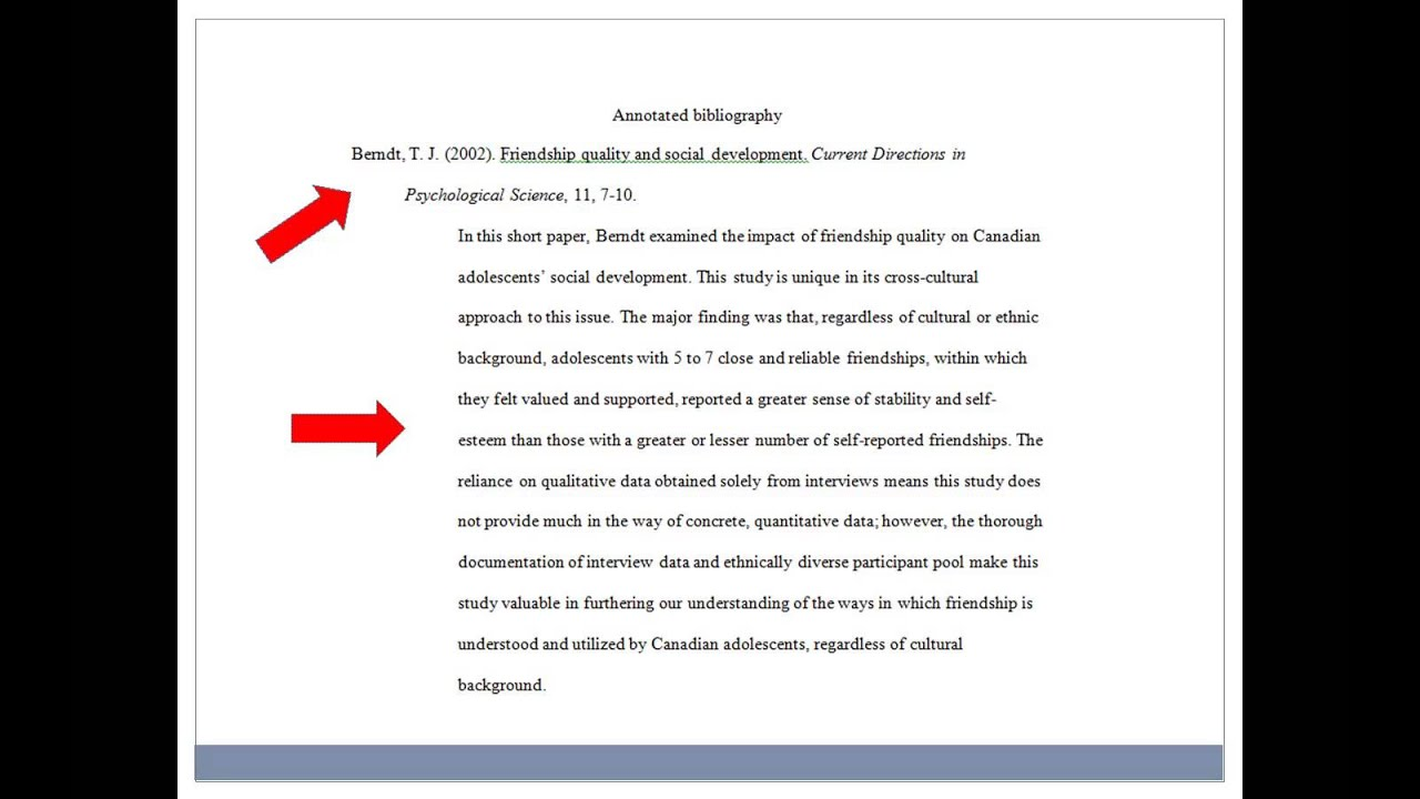 Structure of an annotated bibliography