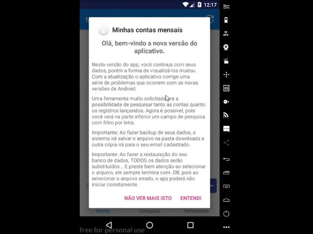 App Contas Mensais - Versão 1.5.0