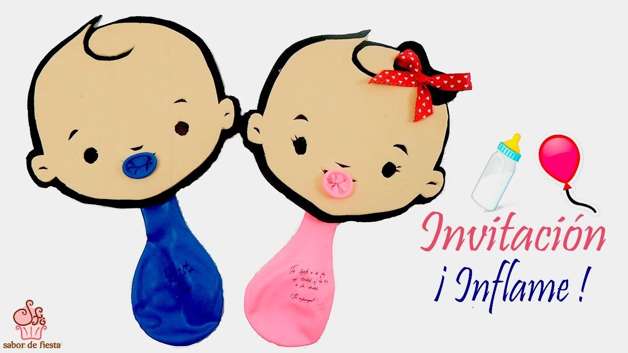 Invitacion Con Globo P Baby Shower Bautizo Y Nacimiento Sabor De