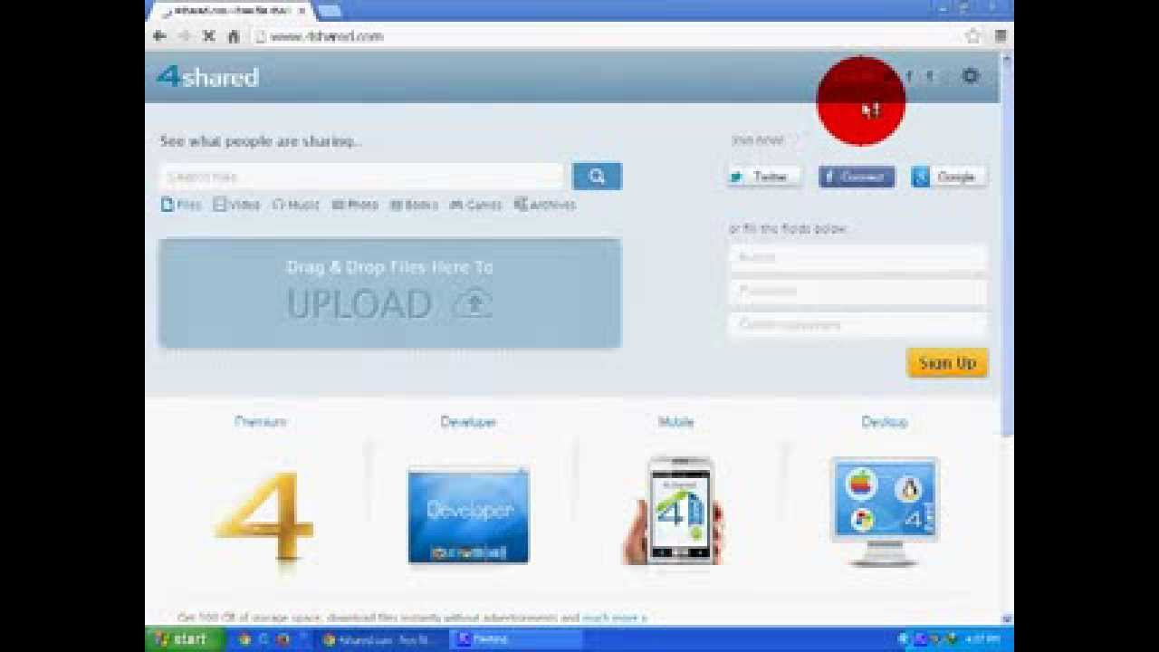 How To Make 4shared Com Account Youtube
