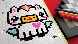 Handmade Pixel Art - How To Draw Kawaii Unicorn #pixelart
