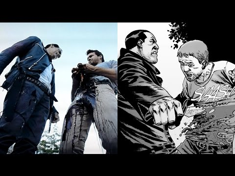 Negan Kills Spencer Death Comparison - The Walking Dead TV Show VS Comic (Season 7 Episode 8)
