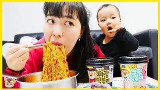 아빠 몰래 뽀로로 떡볶이 짜장면 먹기 ! 주방놀이 요리놀이 상어가족 낚시 장난감 놀이 Pororo Black Noodle pretend play with kids toys
