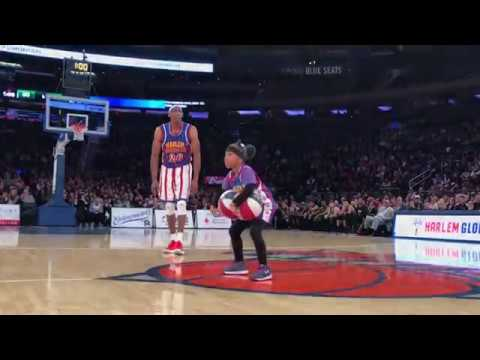 8-year old WOWS with Harlem Globetrotters