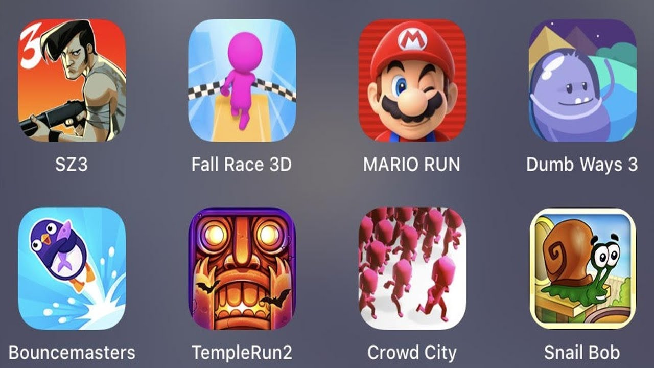 SZ 3,Fall Race 3D,Mario Run,Dumb Ways 3,Bouncemasters,Temple Run 2,Crowd City