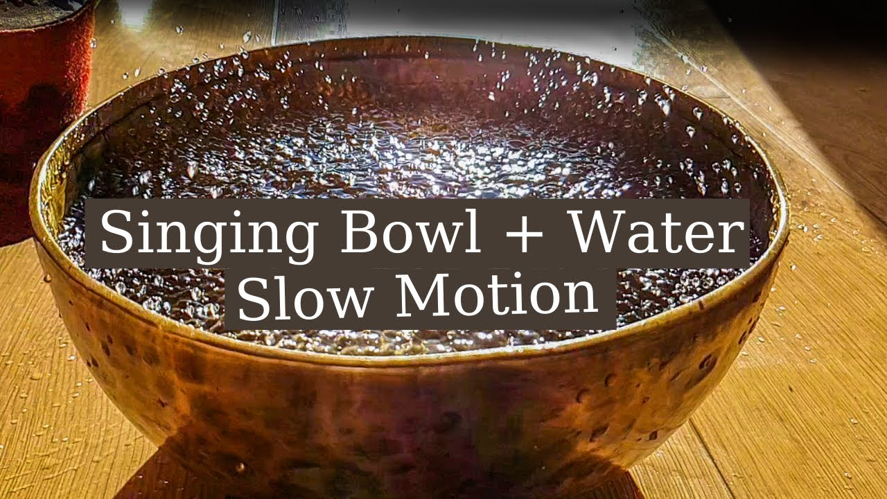 Singing bowl with water in Slow motion. Faraday Waves in a Singing Bowl