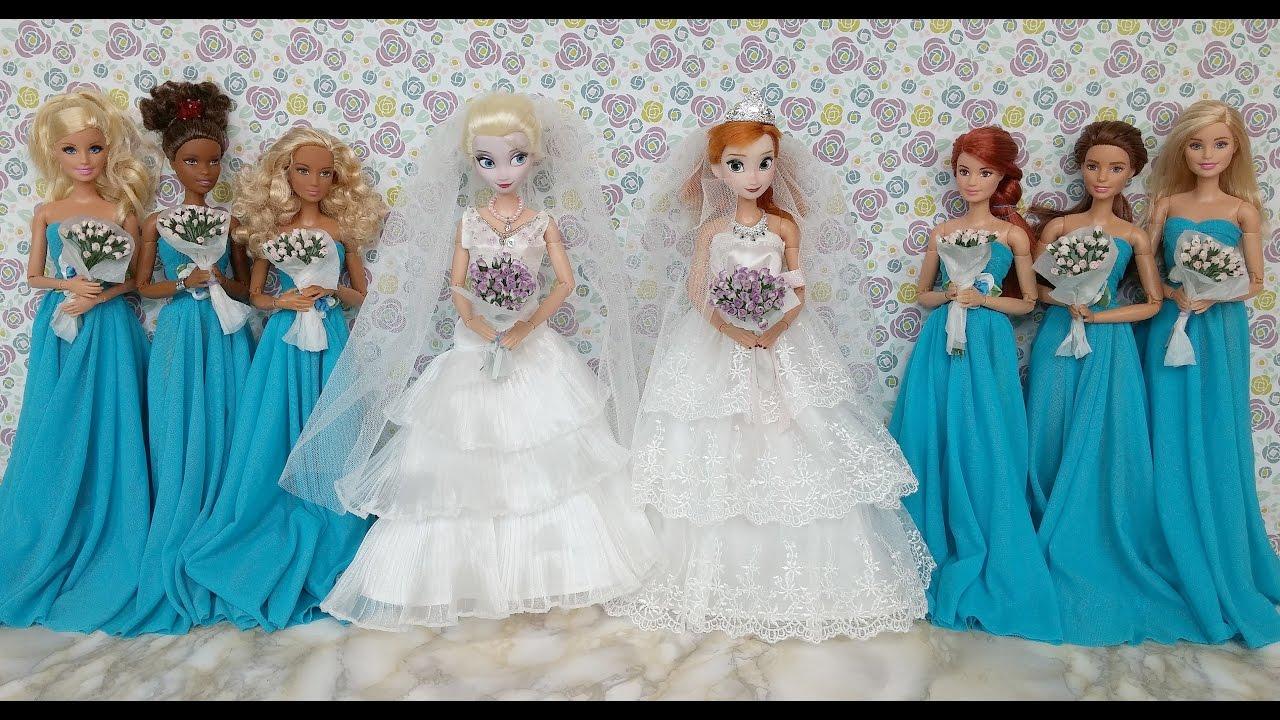 Elsa and Anna Wedding Dresses & Barbie dressエルサ人形のウェディング ...
