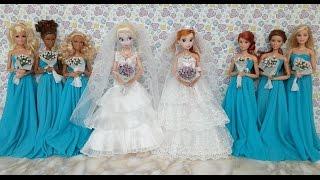 Download Elsa and Anna Wedding Dresses & Barbie dressエルサ人形のウェディングドレスRobes de mariée de Elsa et Anna Mp3