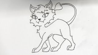 How to draw a Cartoon Cat - CRESCENT -  Clawdeen Wolf ´s pet from Monster High