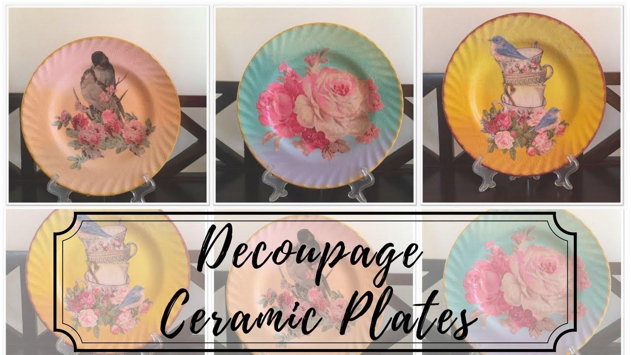 DIY , Decoupage on Ceramic Plates!!