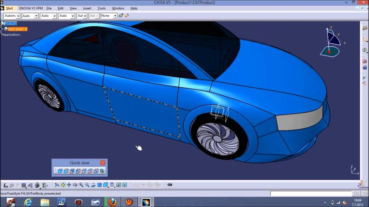 Catia v5 car surface modeling with blueprints tutorial youtube malvernweather Gallery