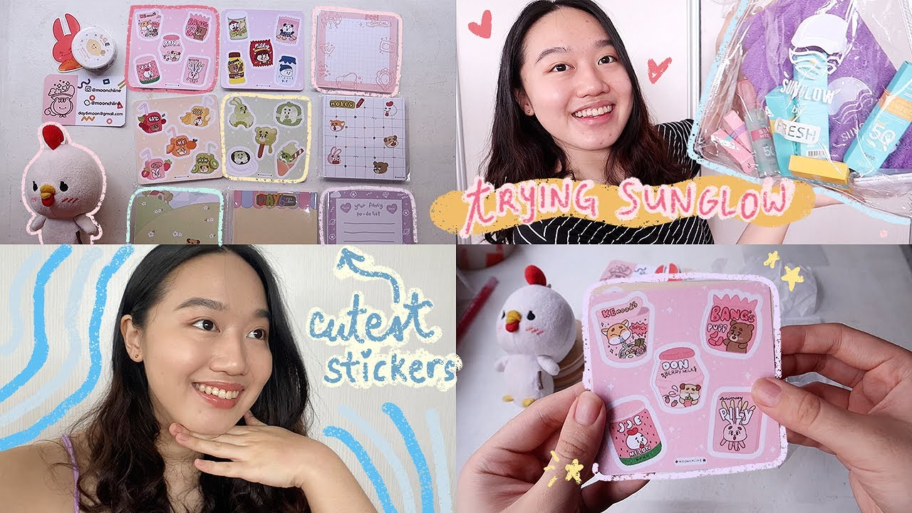 🥺 the CUTEST STICKER HAUL + SUNGLOW first impressions 🌞 a home vlog
