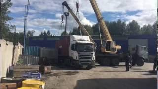 Погрузка контейнера на контейнеровоз компании А-Сервис(Погрузочные работы на терминале компании А-Сервис. Грузим сборный контейнер для отправки в г. Певек (Чукотс..., 2016-09-05T05:56:42.000Z)