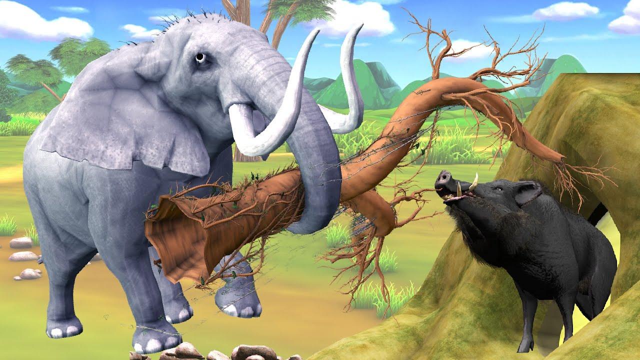 चालक जंगली सूअर और हाथी Kahani - Panchatantra Moral Stories - 3D Hindi Fairy Tales