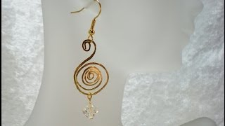 Hammered Spiral and Crystal Bead Earrings Video Tutorial