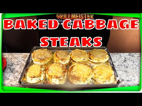 Baked Cabbage Steaks!  (Two Types of Cheese!)
