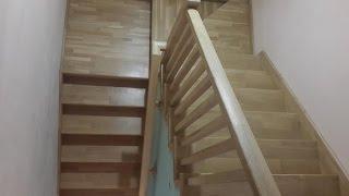 Лестница  из дуба на металлокаркасе 1 часть (обзор готовой лестницы)