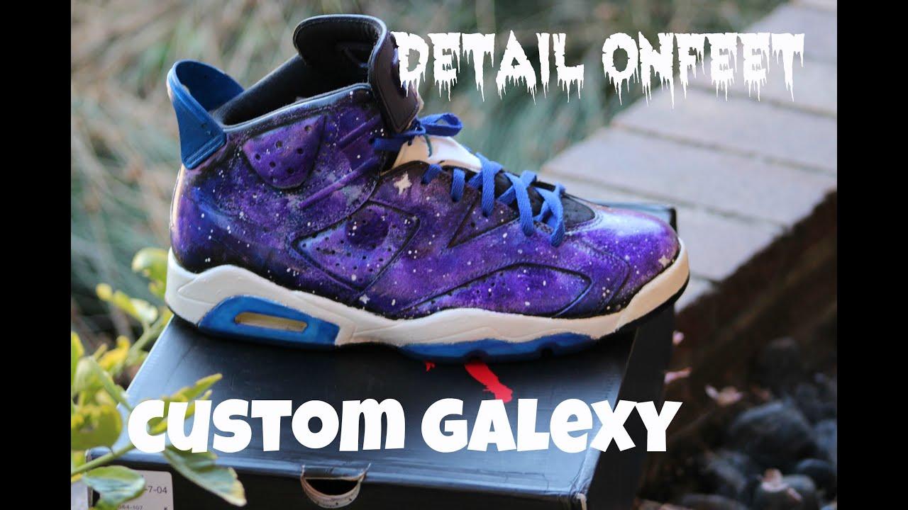 59336b390a2857 Custom! AIR JORDAN 6 Galaxy Retro on feet-detailed look - YouTube