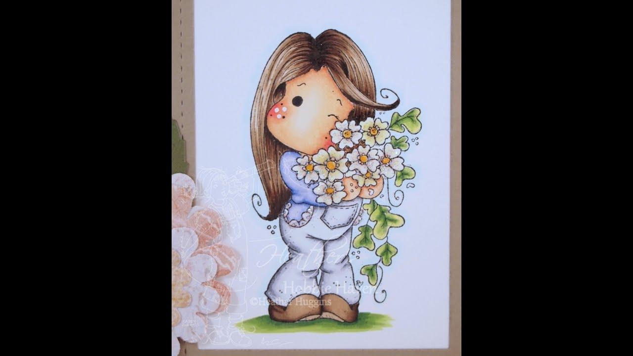 New Years Sakura Tilda Copic Coloring Card Kit - YouTube