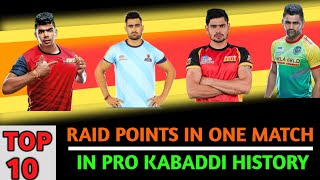 Top 10 Most Raid points in a Match in Pro kabaddi League History