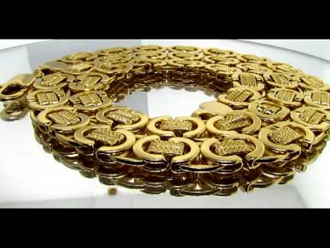 Mens Gold Byzantine Chain Necklaces