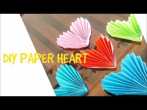 how to make paper heart/DIY Paper Heart/Valentine day & home decor idea