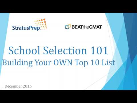 School Selection 101: Choosing the MBA Program That's Right For You - Webinar