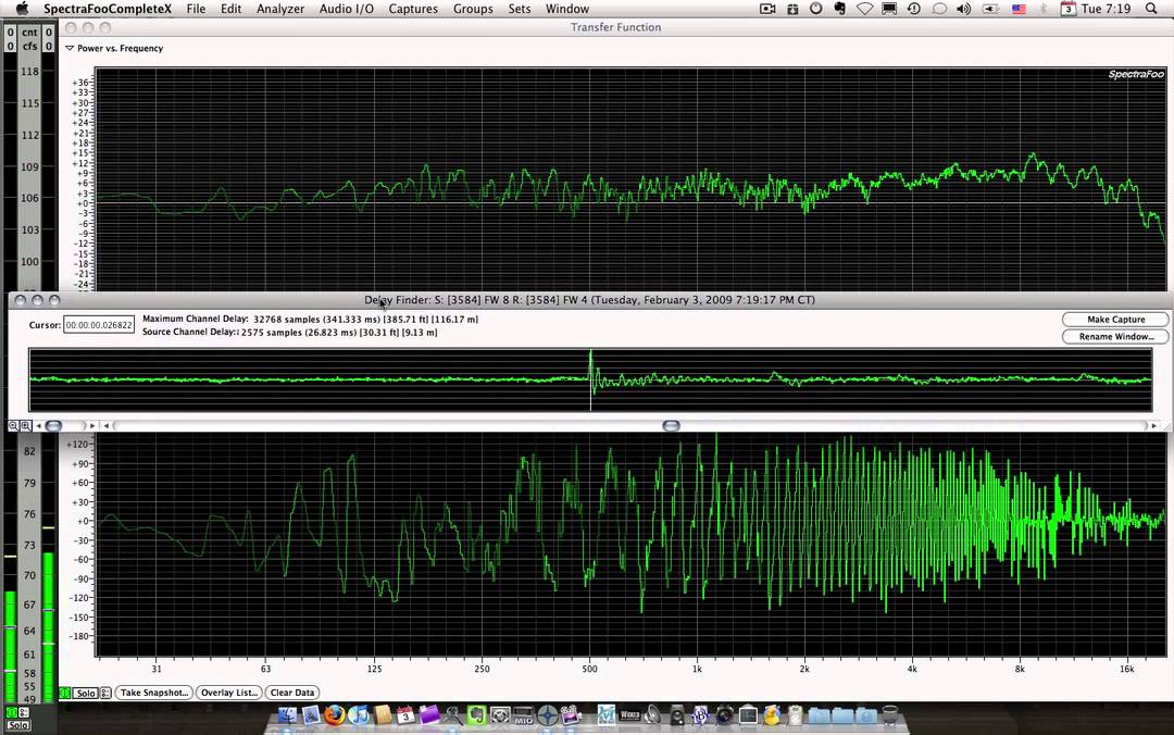 SpectraFoo: Transfer function and delay finder - YouTube