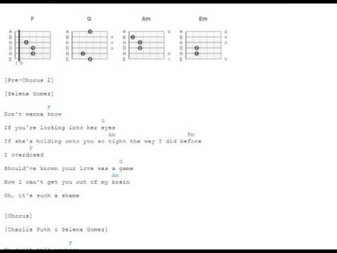 We Dont Talk Anymore Charlie Puth Selena Gomez Guitar Chords