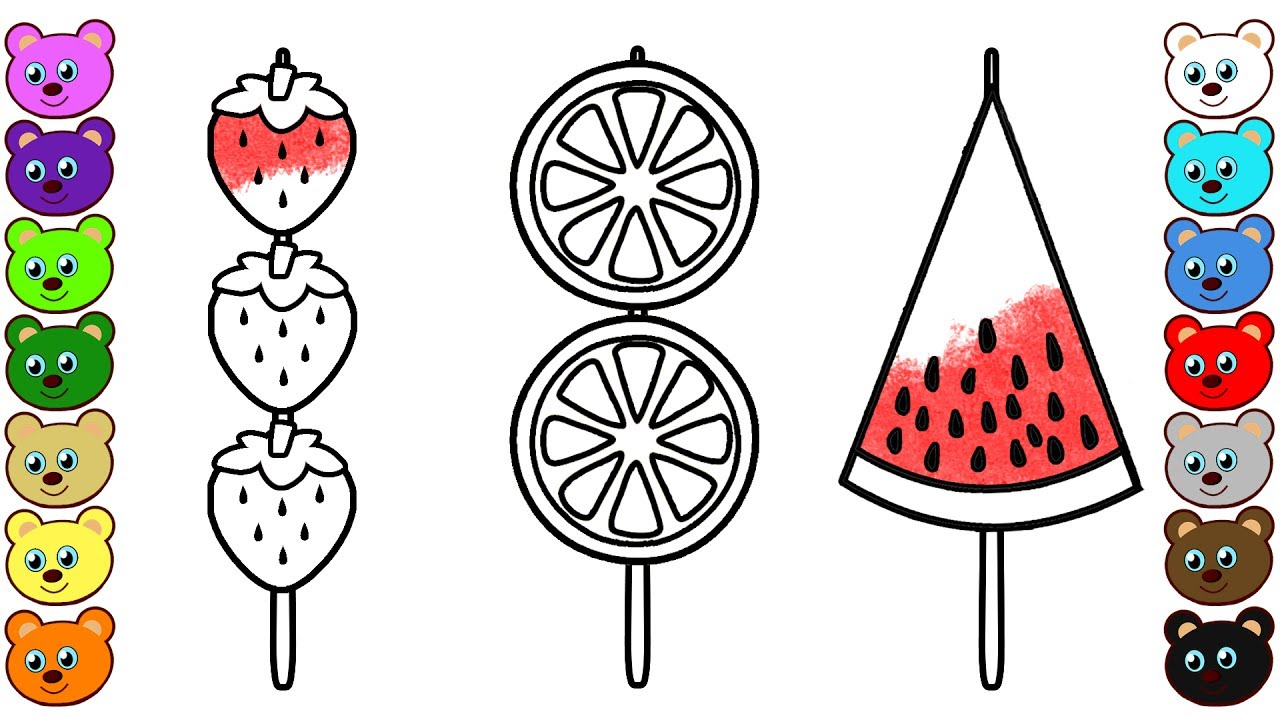 fruit kabobs coloring page and drawing youtube