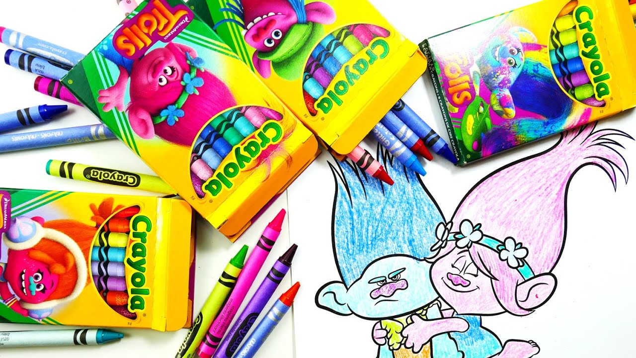 Coloring Poppy and Branch with Dreamworks Trolls Movie Crayola ...