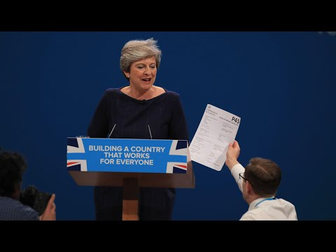 Man interrupts Theresa May's speech to hand her P45