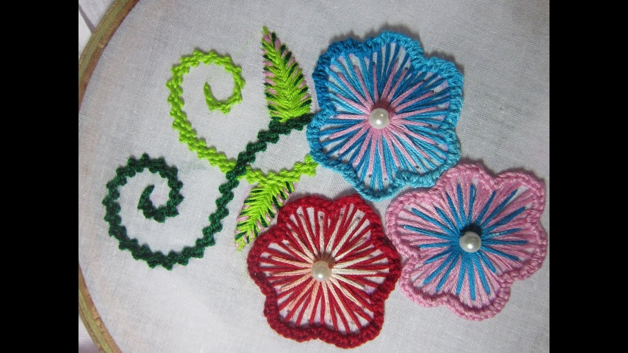 Hand Embroidery Designs Cushion Cover Design Stitch And Flower