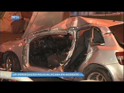 Perseguição policial acaba em acidente em São Paulo