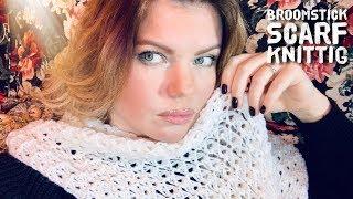 Как связать ШАРФ БРУМСТИК СПИЦАМИ / Broomstick knitting scarf