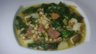 Caldo Gallego - Spanish White Bean Stew With Ham, Bacon, Chorizo, Cabbage And Kale - Puerto Rican